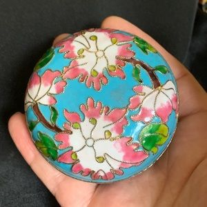 Accents - Enamel Blue & Pink Floral Small Trinket Box